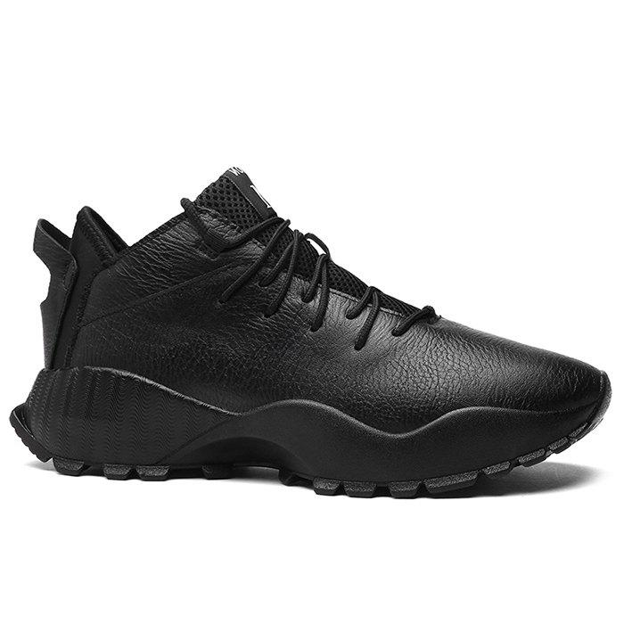 Faux Leather Mesh Tongue Sneakers - BLACK 44