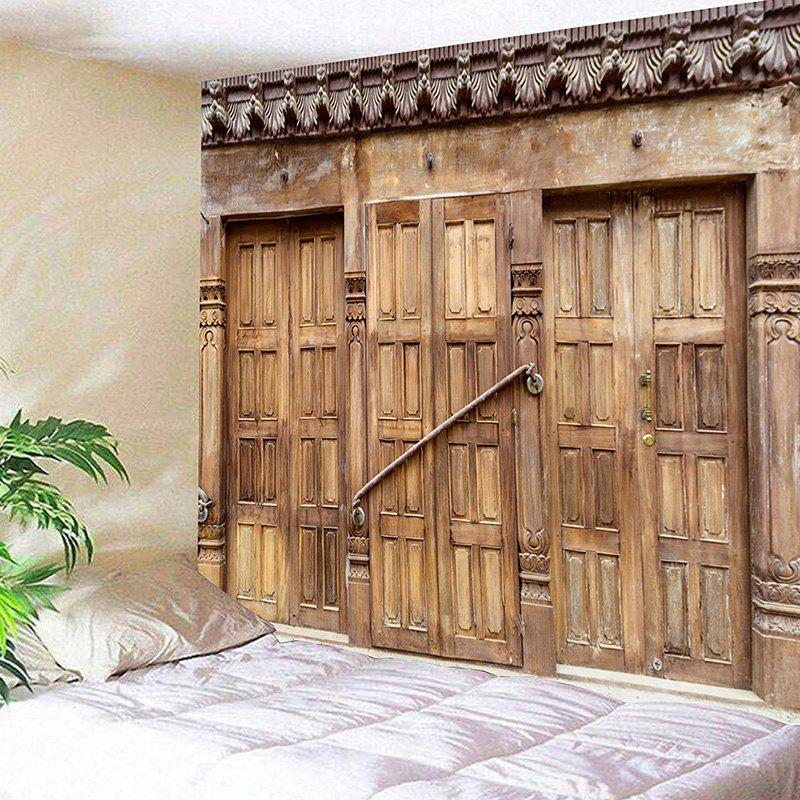 Wall Hanging Wooden Door Printed Tapestry - WOOD COLOR W59 INCH * L51 INCH