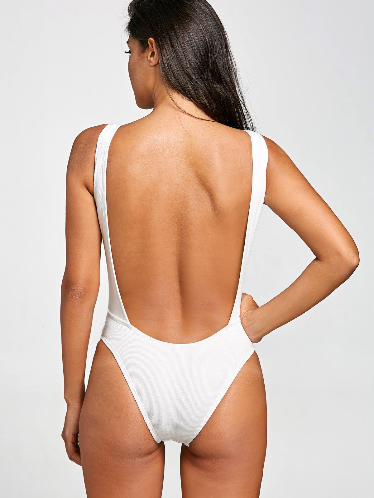 No Pad High Leg Ribbed One Piece Swimwear - WHITE M