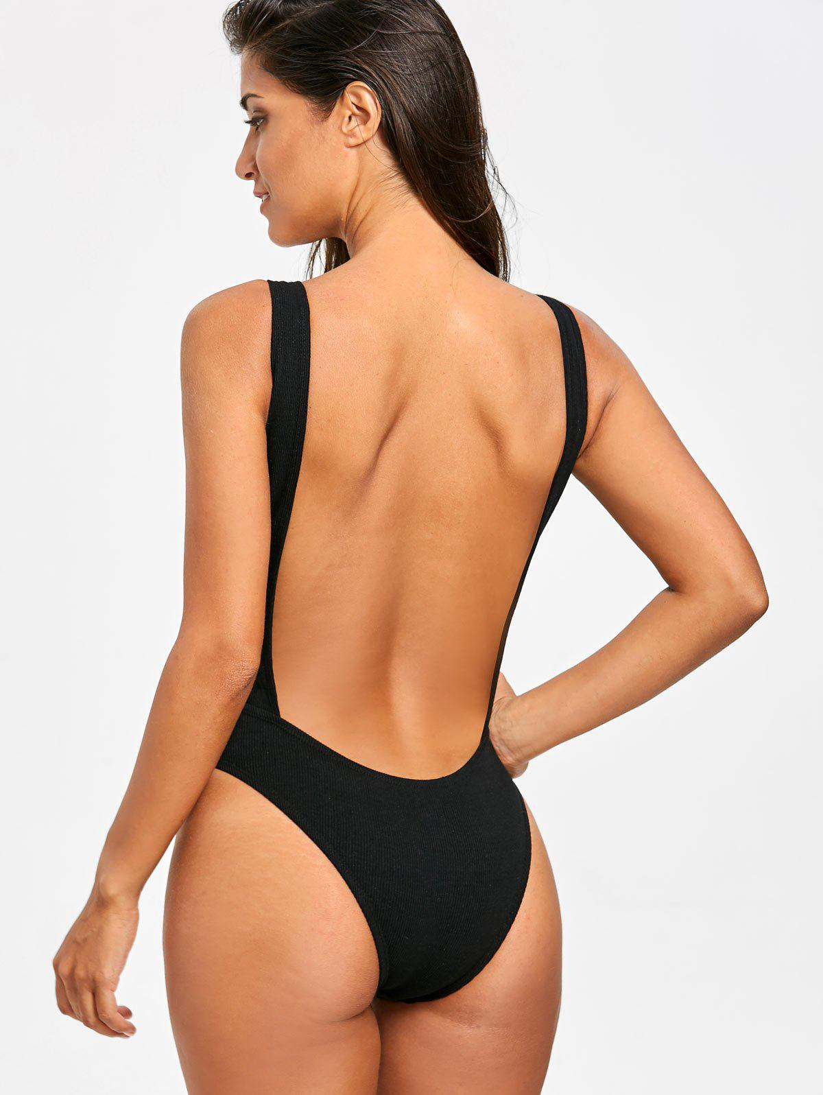 No Pad High Leg Ribbed One Piece Swimwear - BLACK XL