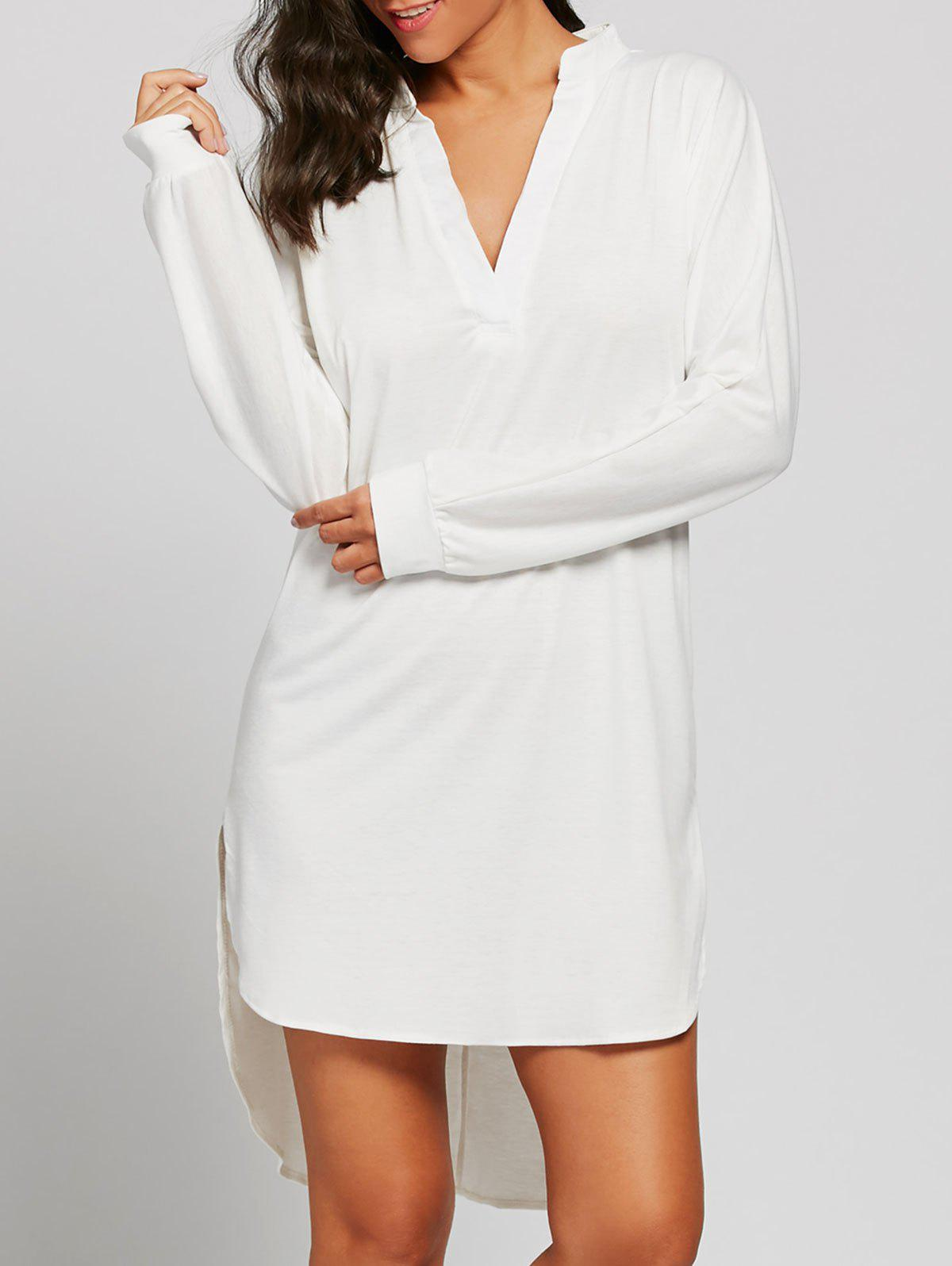 V Neck Long Sleeve High Low Dress - WHITE ONE SIZE