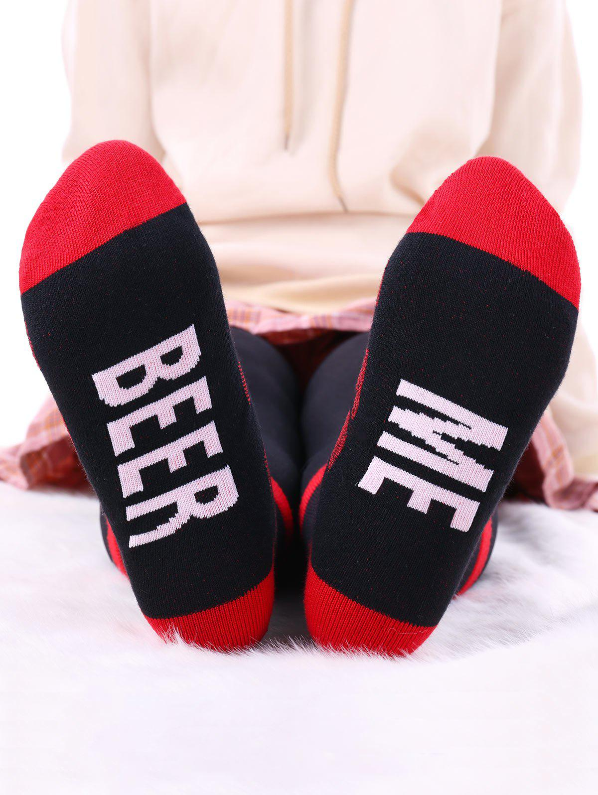 Bear Me Pattern Knit Socks - RED