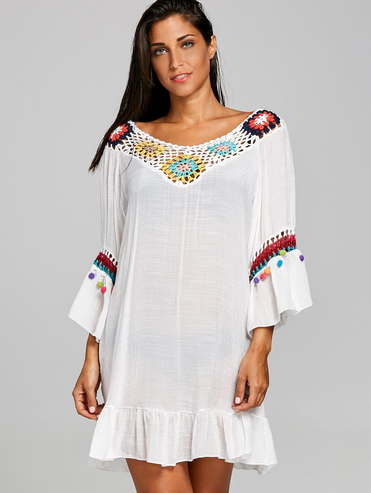Crochet Panel Cover Up Flounce Dress - WHITE ONE SIZE