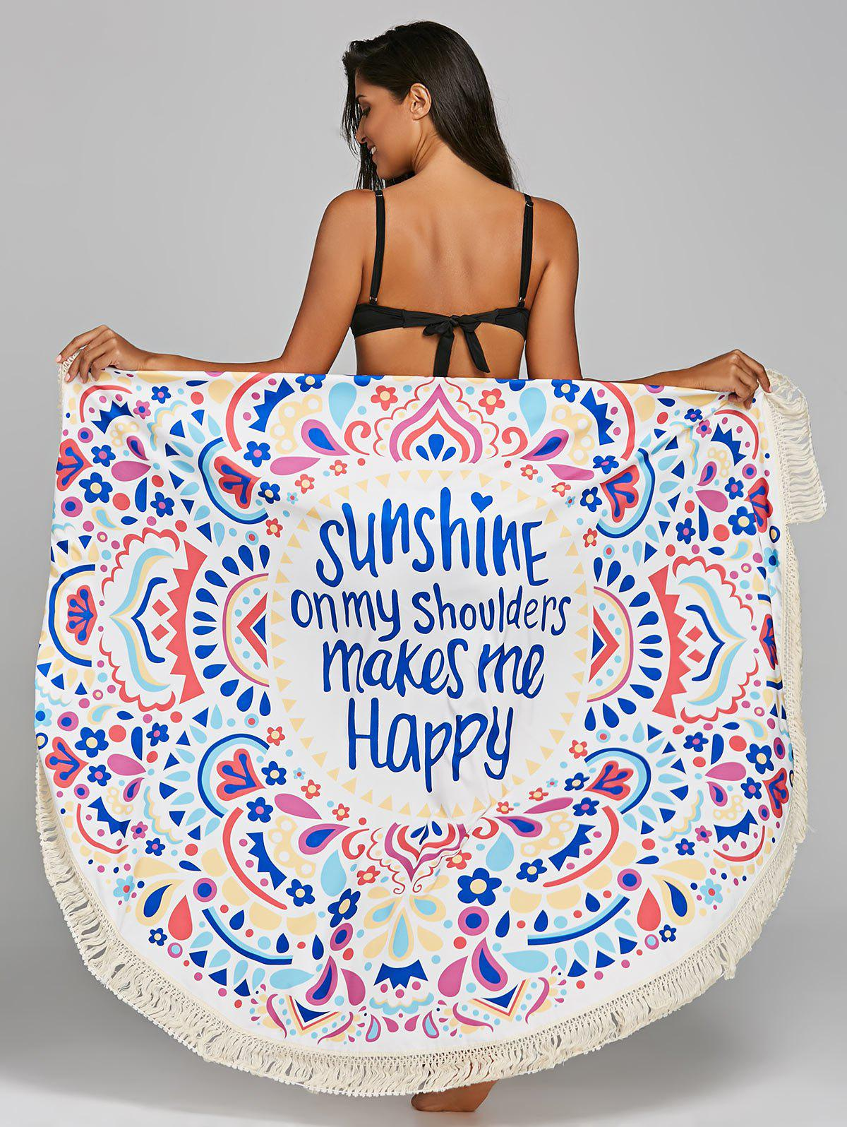 Round Print Fringed Sunbath Beach Throw - COLORMIX ONE SIZE