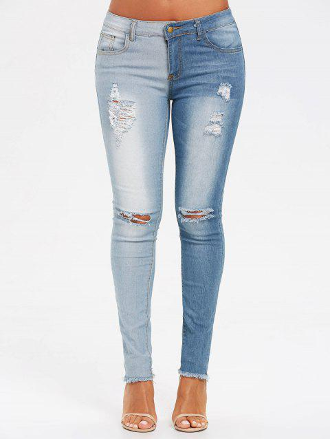 Raw Edge Two Tones Ripped Jeans - CLOUDY XL