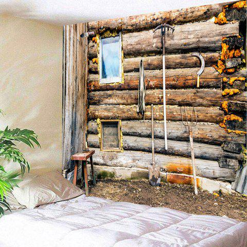 Farmer Wooden Wall Print Wall Hanging Tapestry - WOOD COLOR W79 INCH * L59 INCH