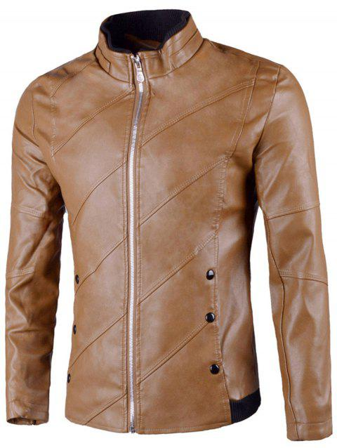 Flap Button Embellished Zip Up Faux Leather Jacket - KHAKI 2XL