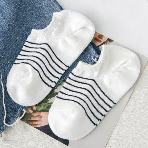 Simple Stripe Pattern Decorated Cotton Ankle Socks - WHITE