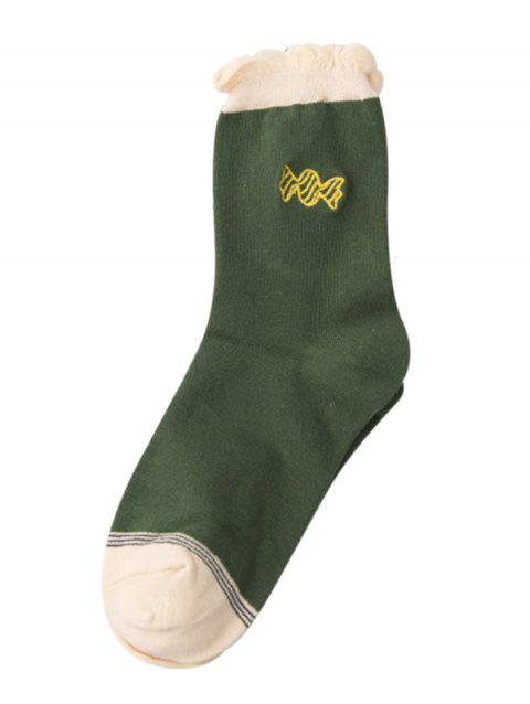 Cute Candy Embroidery Decorated Winter Socks - DEEP GREEN