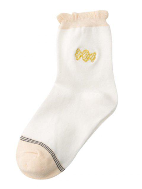 Cute Candy Embroidery Decorated Winter Socks - WHITE