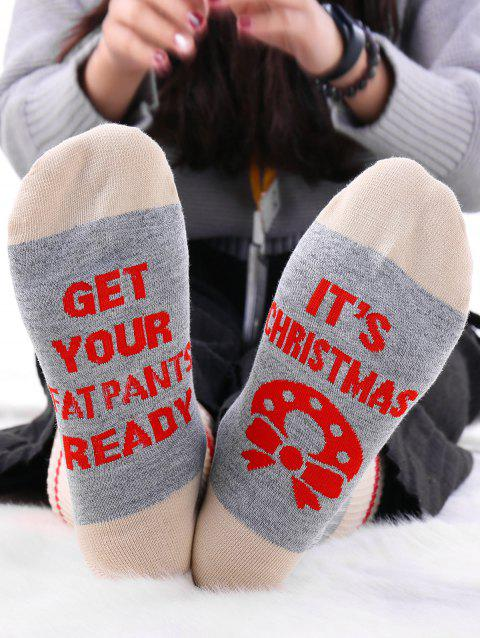 Pair Of Letter Graphic Knit Contrast Socks - GRAY