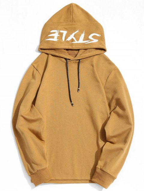 Style Graphic Side Zipper Hoodie - KHAKI L