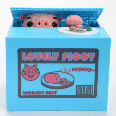 Automatic Electric Stole Coin Cartoon Pig Money Box - BLUE