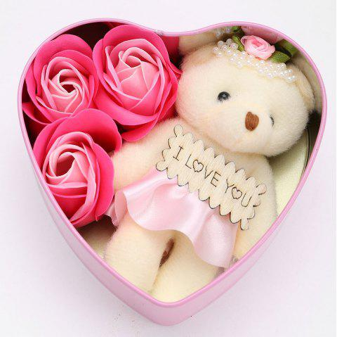 3PCS Soap Roses Flowers and 1PC Bear in a Iron Box Valentine's Day Gift - PINK 12*11*5CM