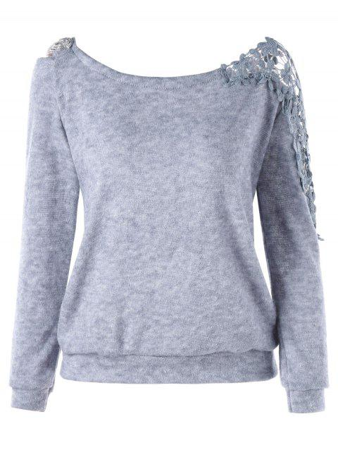Lace Panel Floral Sweatshirt - GRAY L