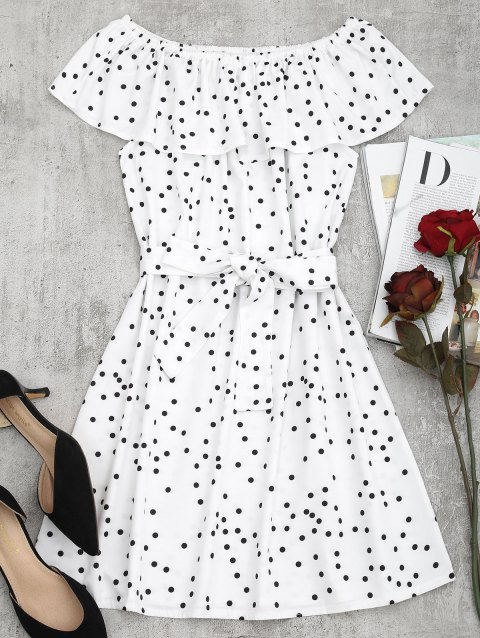 Off Shoulder Overlap Polka Dot Mini Dress - WHITE S