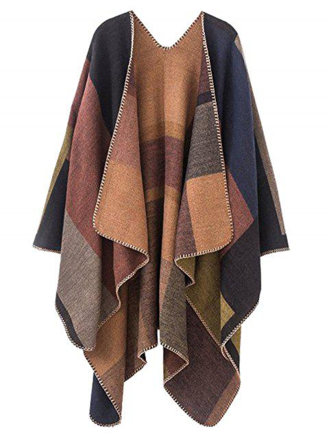 Plus Size Collarless Color Block Poncho - KHAKI ONE SIZE