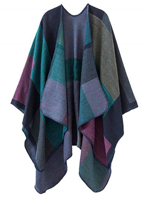 Plus Size Collarless Color Block Poncho - GREEN ONE SIZE