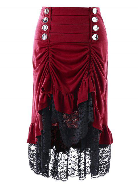 Lace Panel Shirred High Low Skirt - WINE RED M