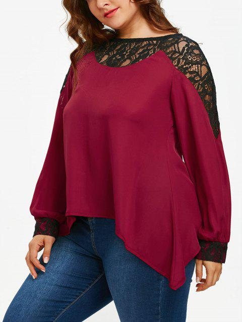 6cfccb1253d LIMITED OFFER  2019 Long Sleeve Plus Size Lace Panel Asymmetrical ...