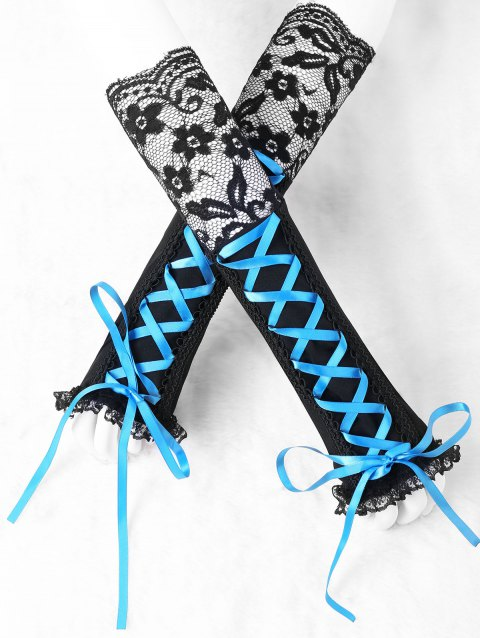 Lace Trim Fingerless Lace Up Arm Sleeves - BLUE/BLACK L