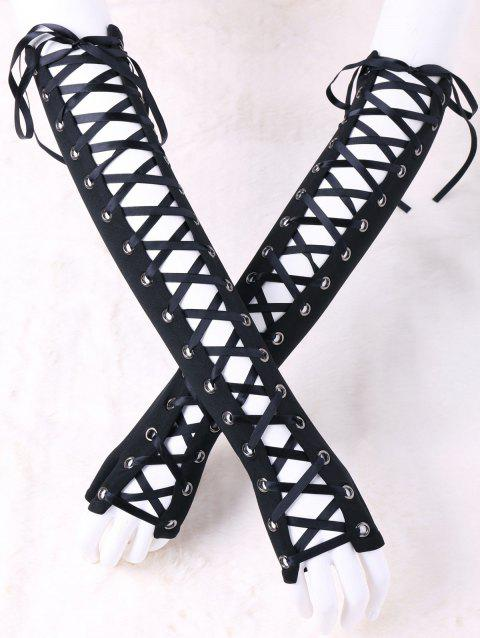 Lace Up Fingerless Arm Sleeves - BLACK M