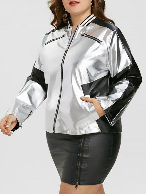 Plus Size Zipper Faux Leather Panel Jacket - SILVER/BLACK 2XL
