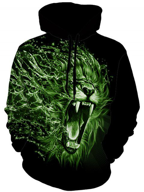 Pullover 3D Monster Lion Print Hoodie - COLORMIX L