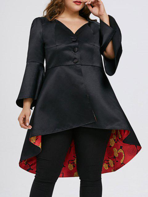 Plus Size High Low Lace Up Skirted Coat - BLACK 4XL