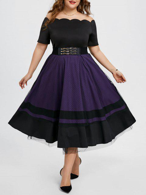 2018 Off The Shoulder Plus Size Midi Party Dress Purple Xl In Casual