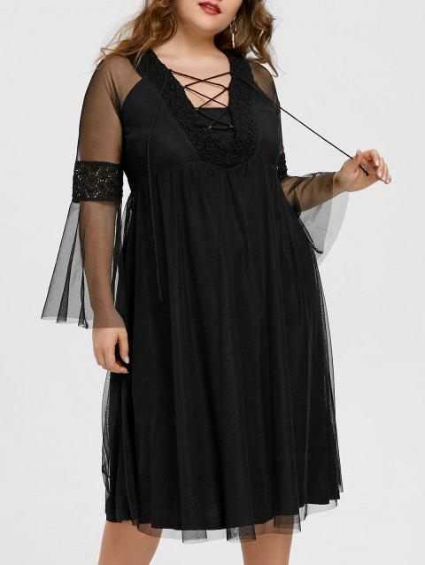 Lace Up Plunge Plus Size Midi Dress - BLACK 4XL