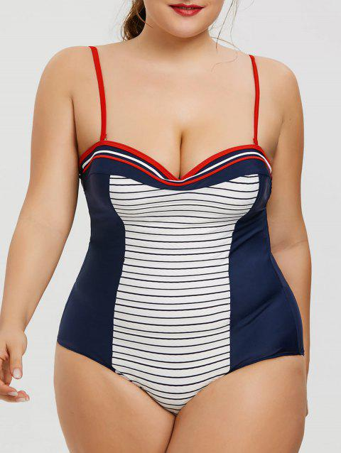 Backless Plus Size Striped Swimsuit - BLUE/WHITE XL