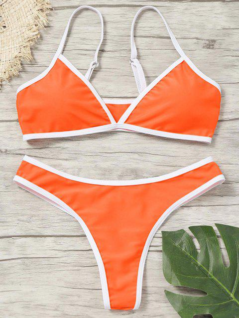 Contrast Trim Padded Thong Bikini Set - FLUORESCENT ORANGE L