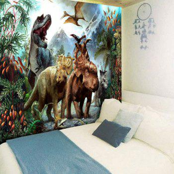 Dinosaurs World Printed Wall Tapestry - GREEN W79 INCH * L59 INCH
