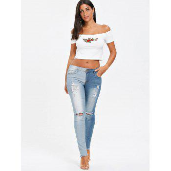 Raw Edge Two Tones Ripped Jeans - CLOUDY L