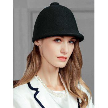Pointed Top Decorated Faux Wool Formal Hat - BLACK BLACK