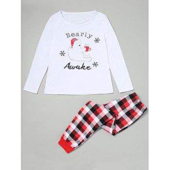 Bear Tartan Matching Family Christmas Pjs Set - RED RED
