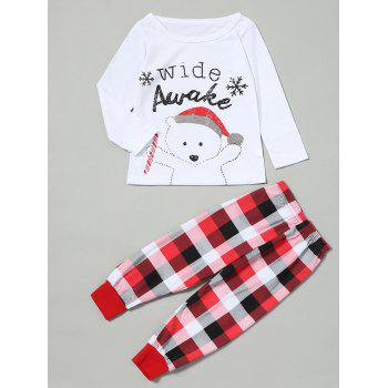 Bear Tartan Matching Family Christmas Pjs Set - RED KID 130