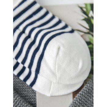 Pair of Stripe Pattern Cotton Blend Ankle Socks - WHITE