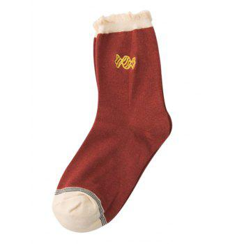 Cute Candy Embroidery Decorated Winter Socks - SPICE SPICE