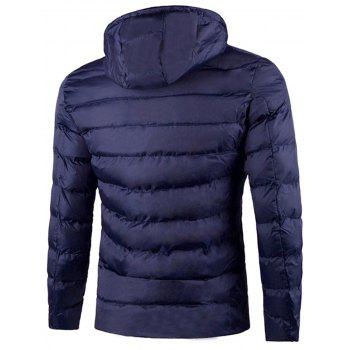 Elasticized Panel Pocket Hooded Jacket - BLUE 4XL