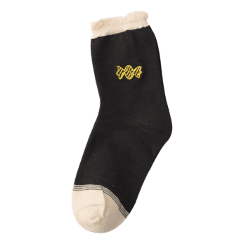 Cute Candy Embroidery Decorated Winter Socks -  BLACK
