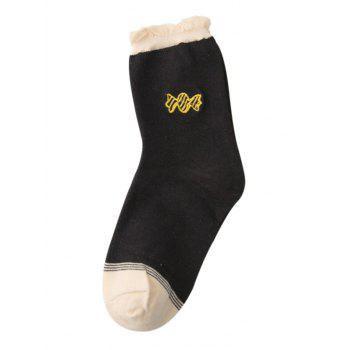 Cute Candy Embroidery Decorated Winter Socks - BLACK BLACK