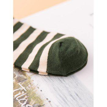 Pair of Stripe Pattern Cotton Crew Socks -  ARMY GREEN