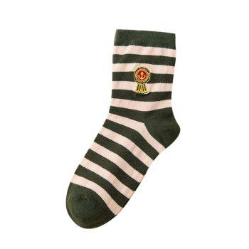 Pair of Stripe Pattern Cotton Crew Socks - ARMY GREEN ARMY GREEN