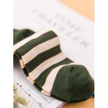 Pair of Stripe Pattern Cotton Crew Socks - BROWN