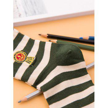 Pair of Stripe Pattern Cotton Crew Socks -  BLACK
