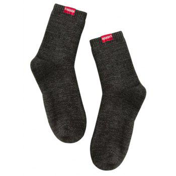 Pair of Label Decorated Cotton Blend Crew Socks - BLACK BLACK