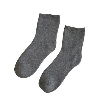 Pair of Pure Color Pattern Crew Socks - GRAY GRAY