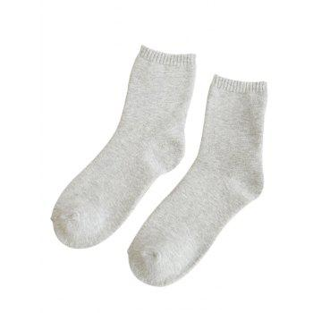 Pair of Pure Color Pattern Crew Socks - WHITE WHITE